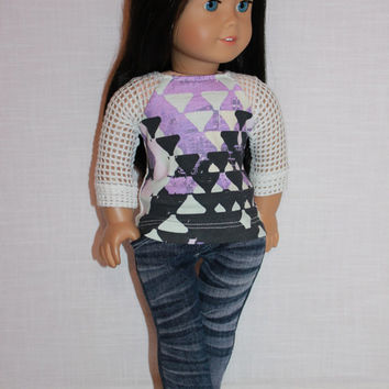 18 inch doll clothes, graphic print mesh sleeve shirt,  two tone denim skinny jeans, Upbeat Petites