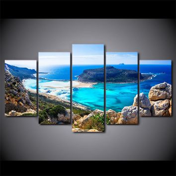 Blue Ocean Sea Beach HD Printed 5 Piece Canvas Art Seascape Wall Picture