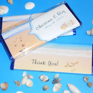 Beach Themed Favor - Wrapped Chocolate Candy Bars - Set of 12 - for Wedding, Engagement Party, Rehearsal Dinner, Bridal Shower, Sweet 16