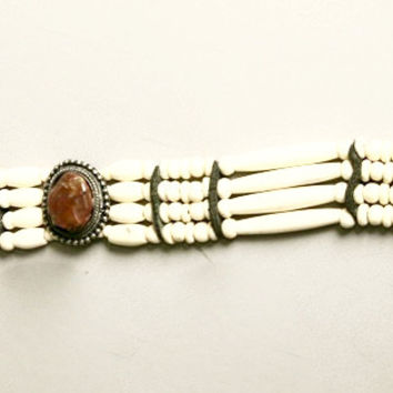 Choker Necklace Bone Stone Beaded Leather Ethnic Native Bohemian Vintage Jewelry