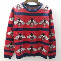 Kalete Gucci Bee Women Jacquard Print Round Collar Knit Pullover Top Sweater Blouse