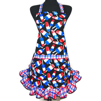Bomb Pop Apron for Women with Retro Style Ruffle , Red White and Blue , Patriotic Kitchen Decor