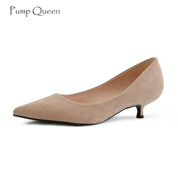 PumpQueen Kitten Heel Women Shoes Med Heel Shoes Woman Pointed T 018056e58