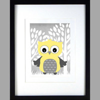 Yellow Owl with Trees Print Nursery Decor Baby Print Floral Art CUSTOMIZE YOUR COLORS 8x10 Prints Nursery Decor Art Baby Room Decor Kids