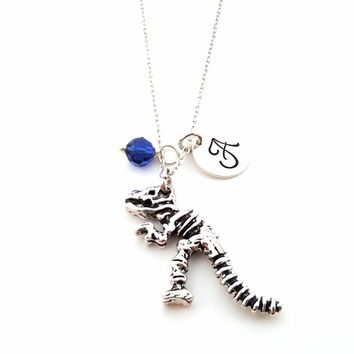 T-Rex Dinosaur Skeleton Charm - Personalized Sterling Silver Necklace