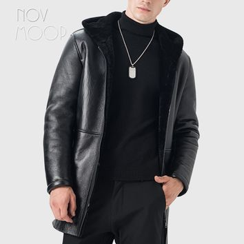 Winter warm men black genuine leather real lambskin shearling hooded jacket
