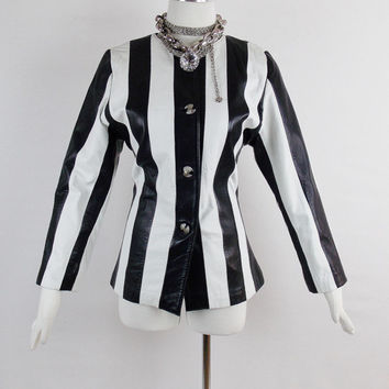 Vintage Runway GIANNI VERSACE MOD  Striped Leather Jacket  Black and White Chic Size Small
