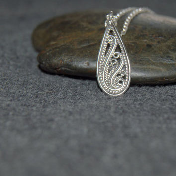 silver teardrop necklace, filigree pendant, simple sterling silver necklace, everyday modern, gift for her, filigree jewelry, filigree drop