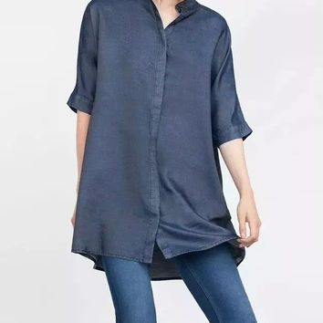 Denim Sleeve Mandarin Collar Button Shirt