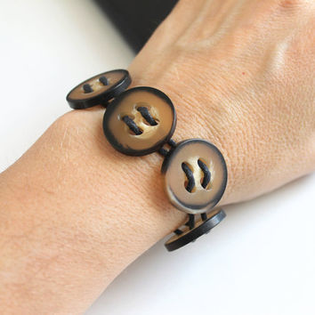Vintage Button Bracelet with leather cord