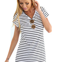White Stripes Short Sleeve Simple Asymmetrical Mini Dress