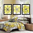 Yellow Black Charcoal Gray Flower Burst Outline Dahlia Floral Bloom Artwork Set of 3 Prints WALL Decor Abstract ART Picture Bedroom Bathroom