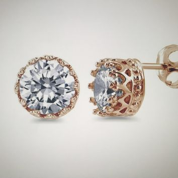 Crown Set 14K Rose Gold 1CT Round Cut Russian Lab Diamond Stud Earrings