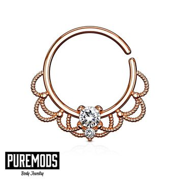 Rose Gold CZ Set Centered Filigree Annealed Hoop Ring For Septum, Daith, and Ear Cartilage (16G)