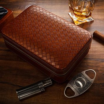 Lubinski Leather Cedar Lined Travel Cigar Case Humidor With Cutter Lighter Humidifier Set 4 Count of COHIBA Cigar