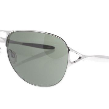 OAKLEY Hinder OO 4043-02 Polished Silver & Brown / Warm Gray Sunglasses NWC AUTH