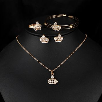 Beautiful Queen/Princess Crown 4-Piece Fashion Jewelry Set