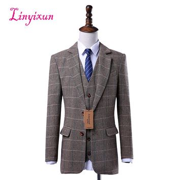 Linyixun Wool Brown Tweed Custom Made Men suit Blazers Retro tailor made slim fit Skinny formal wedding suits for men 3 Pieces