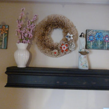 "Black Mantle, 36""L Country Rustic Black Mantle, Mantel, Shelf, Fireplace, Modern Floating Wall Shelf, Floating Shelf"