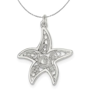 Sterling Silver 26mm Polished Filigree Starfish Necklace