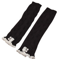 Black Button Knitted Leg Warmers