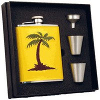 "Visol ""Bahama"" Yellow Leather 6oz Deluxe Flask Gift Set"