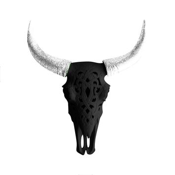 The Ledoux | Large Carved Cow Skull | Faux Taxidermy | Black + Silver Glitter Horns Resin
