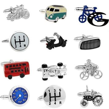 18 Designs Vintage Bus Cufflinks Novelty Traffic Car Design Brass Material