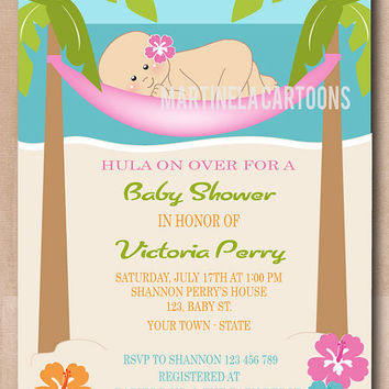 Tropical luau baby shower invitation, hula baby invite with beach, palm trees and hibiscus flowers. DIY Digital Files