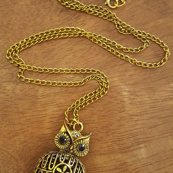 Vintage style long necklace Owl charm Antique Gold Statement necklace