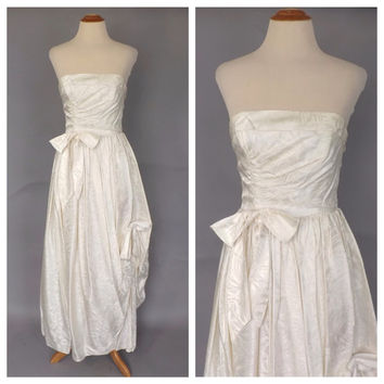 Vintage 1960s Ball Gown White Damask Cocktail Dress 60s Wedding Dress Strapless Sculpture Gown Size Small Mad Men Grace Kelly Vintage Bride