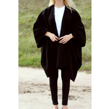 SPRING Black Wool Women Outwear Poncho Coat Cape Cardigan Sweater