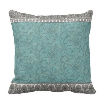 Turquoise Trimmed in Grey by JoMazArt Pillow