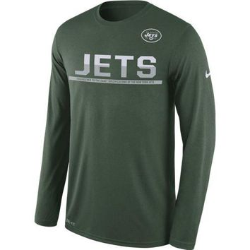 Men's New York Jets Nike Legend Team Practice Long Sleeve Performance T-Shirt - Green