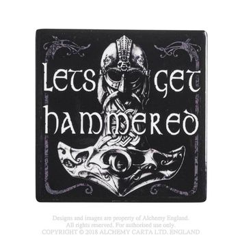 Alchemy Gothic Let's Get Hammered Coaster Thor Vikings Home Decor