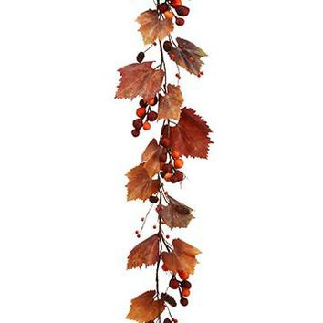 Artificial Grape Leaf and Berry Fall Garland in Rust Orange - 4' Long