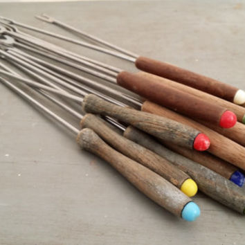 Vintage Fondue Forks Set of 15 Wood Multicolored Ends