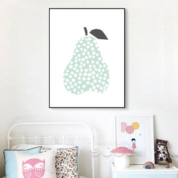 Cartoon Pear Canvas Art Print Painting Poster, Wall Picture for Children Room Decoration, Wall Decor YE149-2