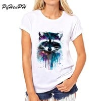 PyHenPH  T shirt for women Raccoon O-neck short sleeved women T-shirt Fashion design Tops