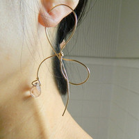 14 K Gold Filled Bow Knot/Forget Me Knot Wire Earrings with Faceted Rose Quarts Beads -- Knotted Earrings, for her