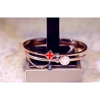 LV new tide brand female personality wild flower petal diamond bracelet