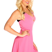 Pink Black Two Tone Mesh Accent V Back Design Summer Cocktail Dress