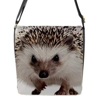 Hedgehog On White Cross Body Messenger Bag M L
