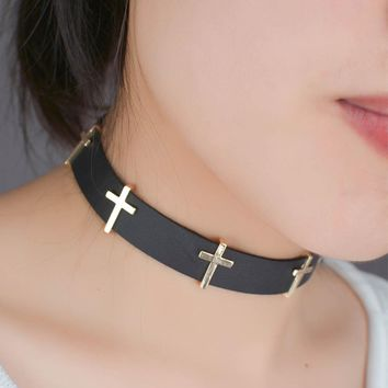 Black Leather Cross Choker Necklace For Women