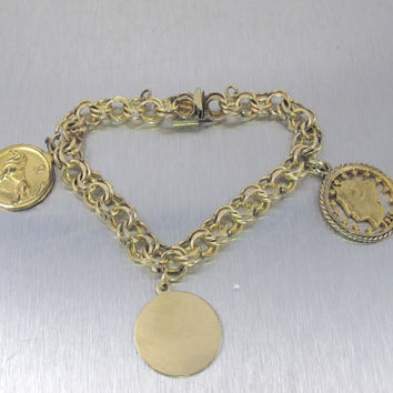 Vintage Charm Bracelet, Jacoby Bender Mid Century Jewelry, Zodiac Leo Lion Astrology Charm, Cut Out Coin Cham, 12K Gold Fill Charm Bracelet