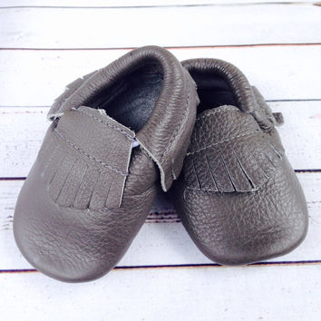 Shark Grey Fringe Boys slate gray infant one 1st Birthday photography invitation ideas infant Moccasin crib shoes for baby
