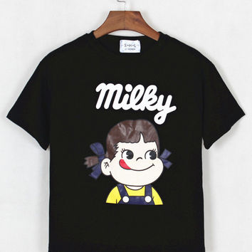 Milky Cartoon Print Short Sleeve Cropped Graphic Tee