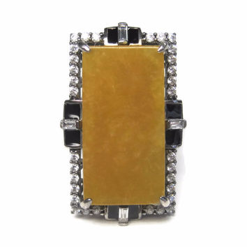 Vintage 90s Yellow Jade Statement Ring Sterling Size 9