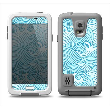 The Seamless Blue Waves Samsung Galaxy S5 LifeProof Fre Case Skin Set