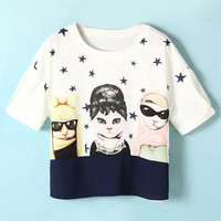 White Cartoon Printed T-Shirt